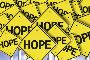 Hope written on multiple road sign