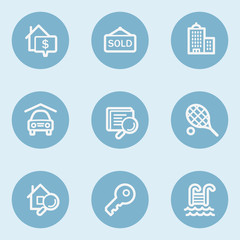 Real estate web icons , blue buttons
