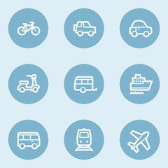 Transport web icons , blue buttons