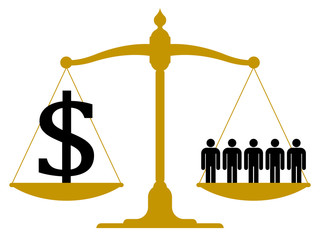 Balanced scale with people and a dollar sign