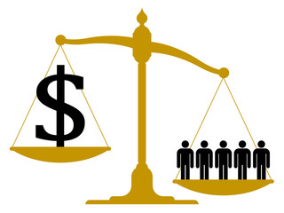 Imbalanced pendulum scale with people and a dollar