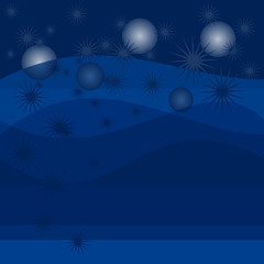 Abstract blue stars bubble background