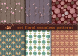 Fototapety set floral seamless pattern Seamless pattern can be used for wal