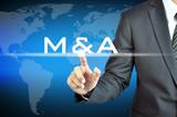 Businessman hand touching M & A - merger & acquisition concept poster