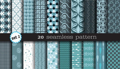 20 seamless pattern.color blue set 2
