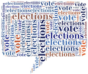 Word cloud illustration related to elections or voting