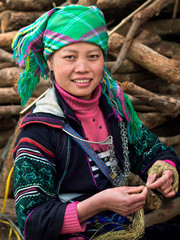 Black Hmong Woman Wearing Traditional Attire, Sapa, Vietnam