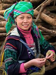 Black Hmong Woman Wearing Traditional Attire, Sapa, Vietnam