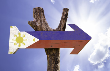 Philippines wooden sign on a beautiful day