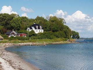 Houses by the beach near Faaborg Denmark