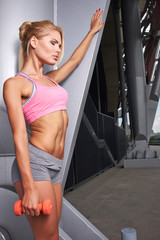 Excited woman training outdoors.