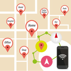 Navigator Smart phone with icon on map