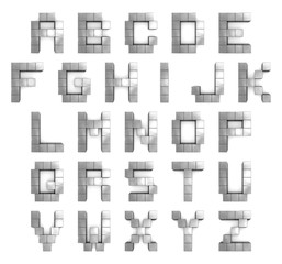 Alphabet 3d cubic metal
