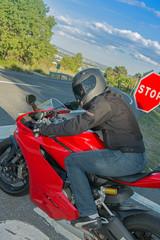 Biker on a stop