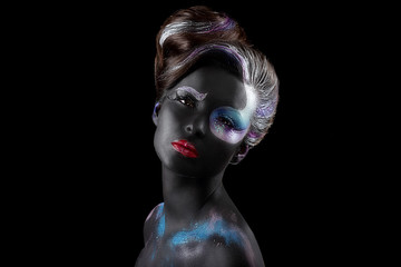 Creativity. Fancy Woman with Art Artistic Makeup. Vogue Style