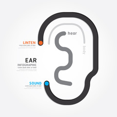infographic Template with ear line banner . concept vector illus