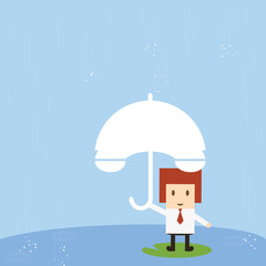 Businessman with rain, vector eps10