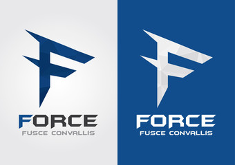 F Force with a symbol of force. Business Movement.