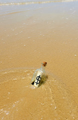 Bottle with dollar sign on the beach