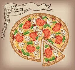 pizza vector hand drawn