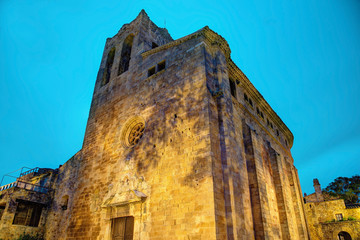 Cathedral in Pals by night, Costa Brava, Spain