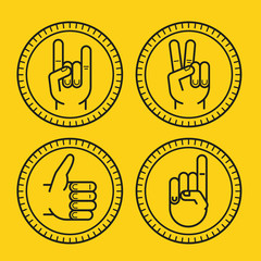 Vector set of outline icons - gestures and signs