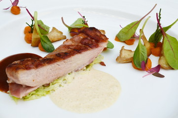 Pheasant with pumpkin and lettuce