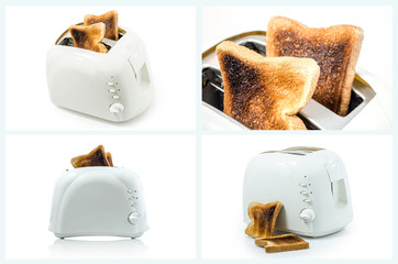 Collection of Burnt Toast  in Toaster on white