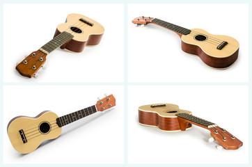 Collection of ukulele guitar isolated on white
