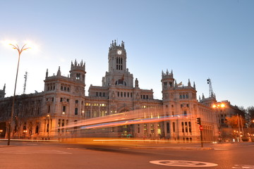 communication palace with rays of car lights, Madrid, Spain