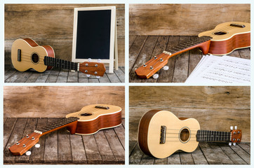 Collection of Ukulele and blackboard on wooden background