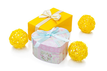 Red gift box with golden ribbon and bow