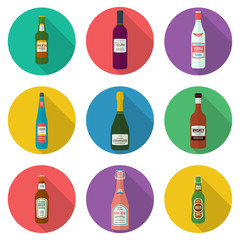 flat design alcohol bottles icons set