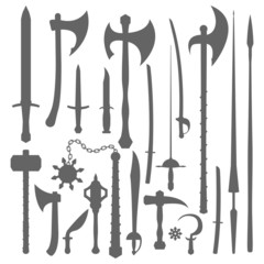 vector medieval cold weapons silhouette set