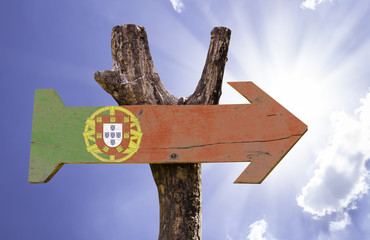 Portugal wooden sign on a beautiful day