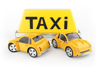 Taxi cabs and roof sign