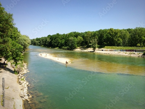 canvas print picture Baden in der Isar