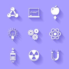 Set of white physics icons.