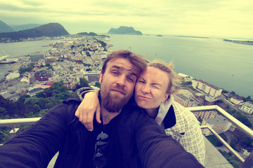 newlyweds honeymoon vacation in Norway