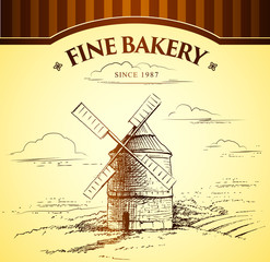 windmill . Bakery. labels, pack for bread, bakery