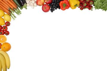 Essen, Früchte, Obst und Gemüse mit Textfreiraum