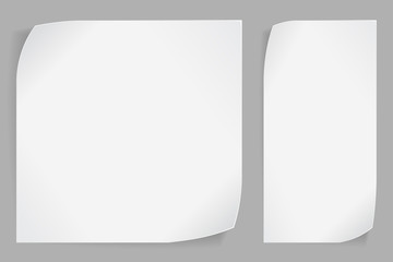 White paper stickers over gray background
