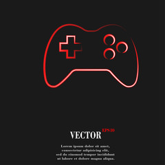 Gaming Joystick. Flat modern web button and space for your text.