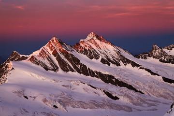 Sunset light over Berner Oberland, Switzerland - UNESCO Heritage