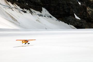 Airplane on Aletsch Glacier, Berner Oberland, Switzerland