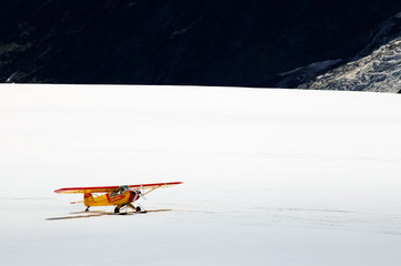 Airplane on Aletsch Glacier, Berner Oberland, Switzerland