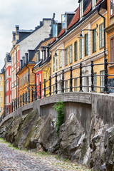 Picturesque cobblestone street in Stockholm.