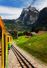 Jungfrau Bahn descending from Kleine Scheidegg, Switzerland