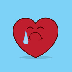 Heart character crying with large tear