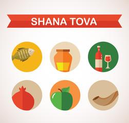 "six icons for Rosh Hashana, Jewish holiday.  ""Happy New Year"" ("